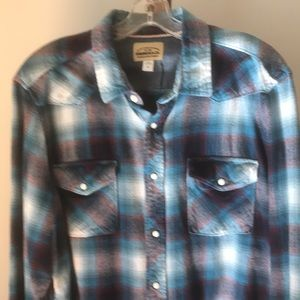 Roebuck & Co Western Flannel Blue Plaid Shirt XL